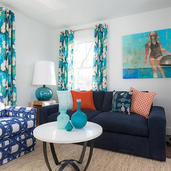 Turquoise And Orange Floral Curtains Design Ideas