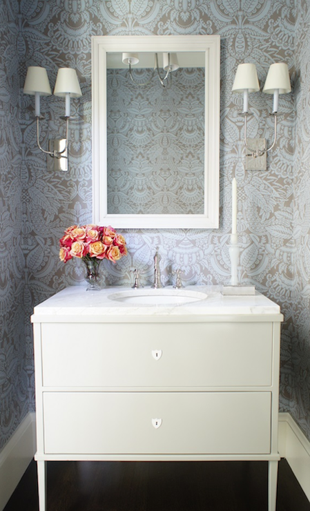 Pretty Powder Room With Blue And Taupe Damask Wallpaper Framing A Pair Of Tt Double Wall Lights On Either Side White Mirror Over Pale Gray