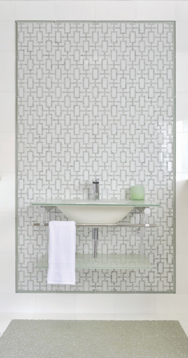 Incredible Bathroom With A Wall Of La Moda Tiles In Thassos And Ming Green  Framing A Wall Mount Sink With Modern Faucet, Frosted Glass Counter And  Built In ...