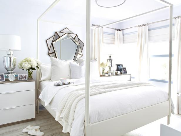 Flynnside Out - Light filled bedroom features antiqued sunburst mirror on light blue walls framing white canopy bed Ikea Edland Bed dressed in white and ... & Ikea Canopy Bed Design Ideas