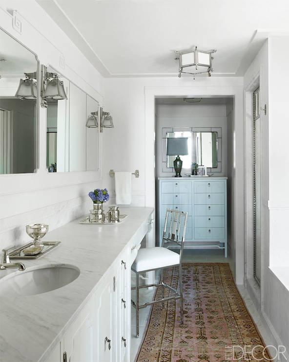 Pink And Beige Rug Transitional Bathroom Elle Decor