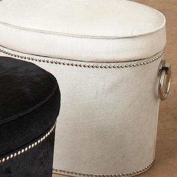White Oval Storage Ottoman