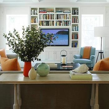 Green Floor Screen Contemporary Living Room