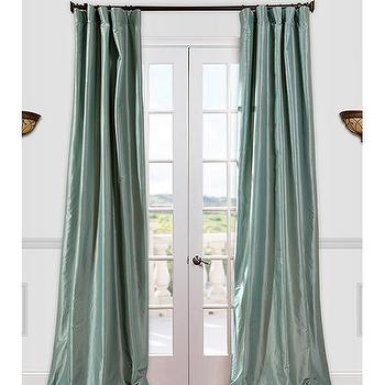 Get Robins Egg Faux Silk Taffeta Curtains & Drapes at Low Price