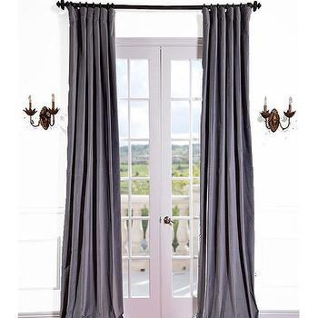 Buy Chinchilla Grey Vintage Cotton Velvet Curtains & Drapes at Low Price