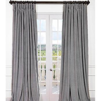Get Signature Silver Grey Double Wide Velvet Blackout Pole Pocket Curtains & Drapes