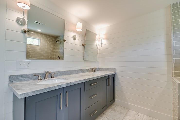 Gray Marble Countertops - Transitional - bathroom - Farrow and Ball ...