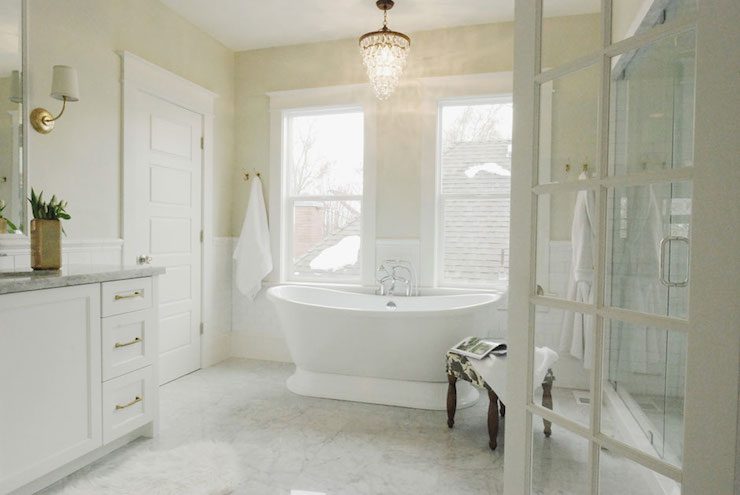 Overstock Crystal Chandelier Transitional Bathroom