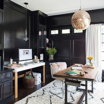 Black Paneled Office, Contemporary, den/library/office, TerraCotta Properties