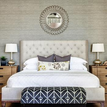 Gold accent wall transitional bedroom for Gray wallpaper bedroom