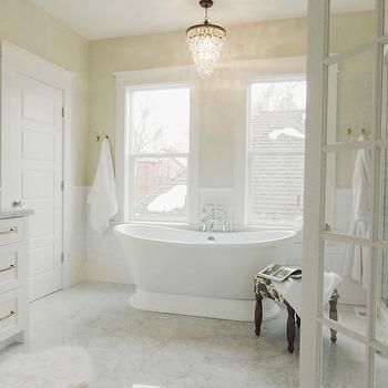 Overstock Crystal Chandelier, Transitional, bathroom, Benjamin Moore Halo, White & Gold Design