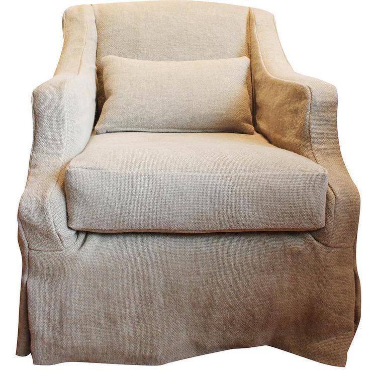 Linen Slipcovered Beige Swivel Armchair