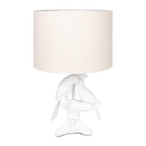 Parrot White Ceramic Lamp