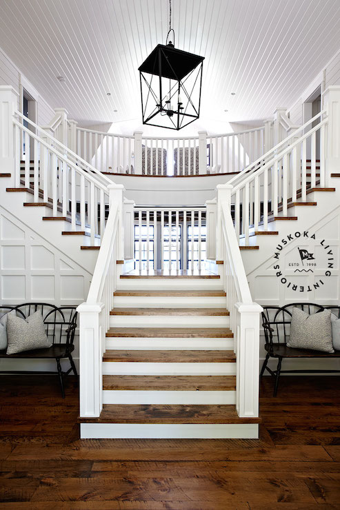 Double Sided Staircase Cottage Entrance Foyer