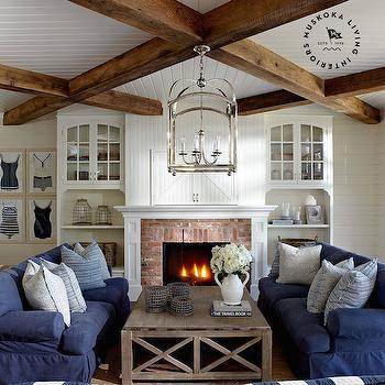 White and Blue Living Room, Cottage, living room, Muskoka Living