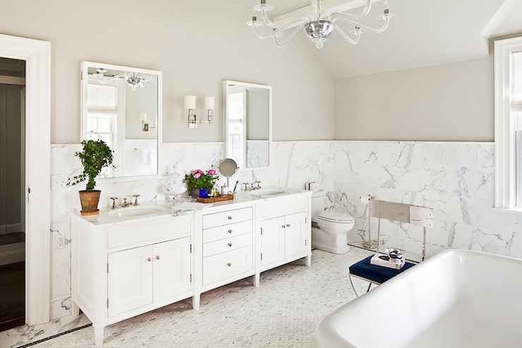 Marble Wainscoting Transitional Bathroom Alisberg