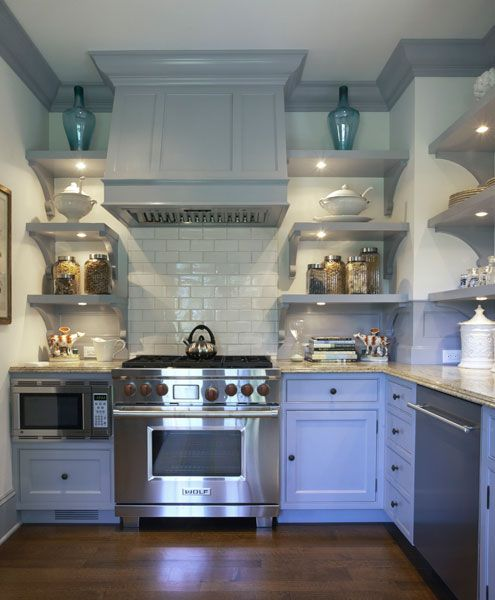 Kitchen Cabinets Grey Lower White Upper: Shelves In Lieu Of Upper Cabinets Design Ideas
