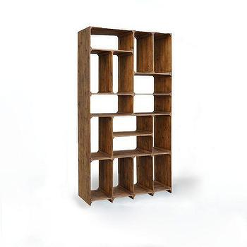 Bleached Pine Compartment Bookcase, West Elm
