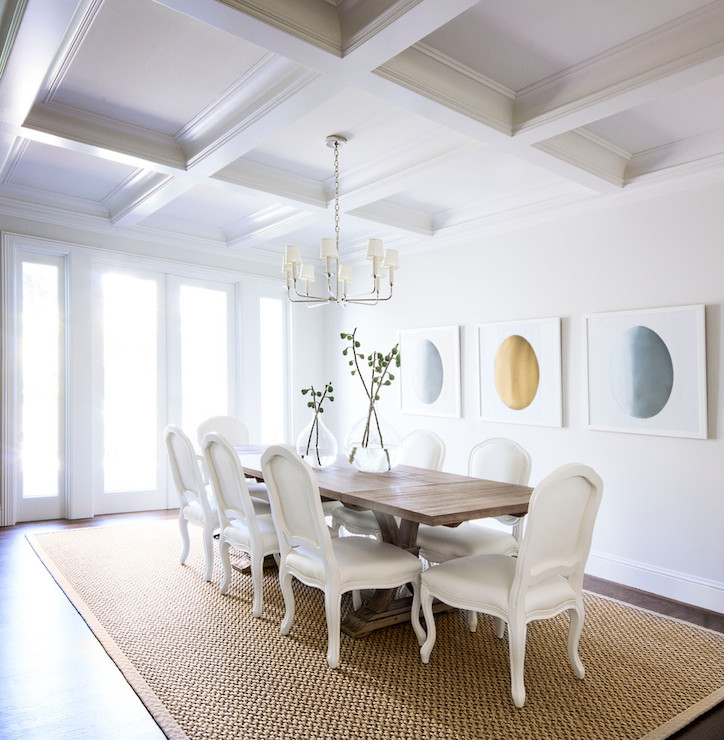Coffered Ceiling Dining Room Transitional
