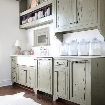 Mint Green Cabinets Eclectic Kitchen