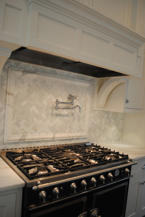 marble herringbone backsplash transitional kitchen stacye love