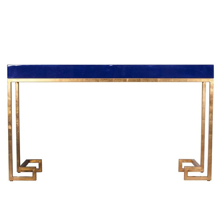 Worlds Away Barsanti Gold Leaf And Navy Lacquer Console