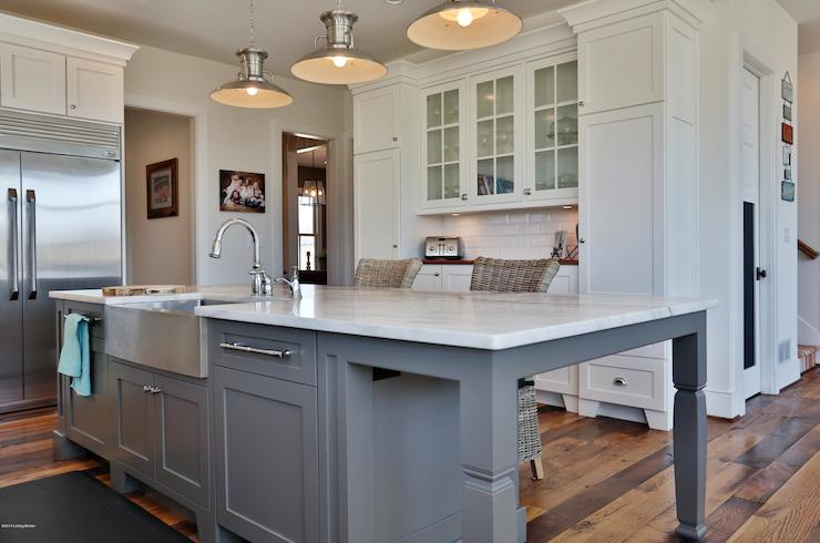 Cottage Kitchen Sherwin Williams Pearly White - Light gray cabinet paint