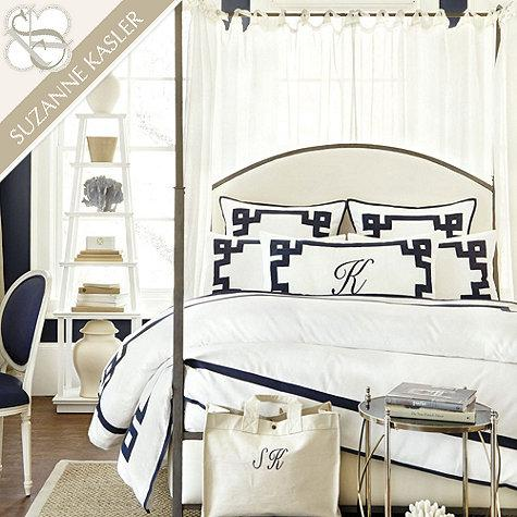 Suzanne Kasler Indigo And White Greek Key Bedding