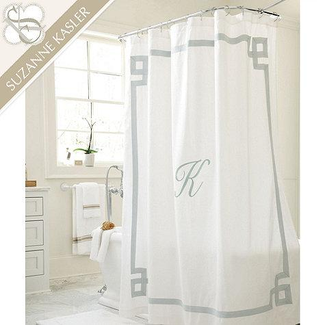 Suzanne Kasler White and Grey Greek Key Linen Shower Curtain