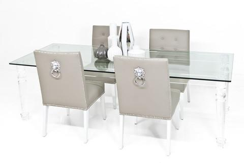 Beverly Hills Lucite and Clear Glass Dining Table