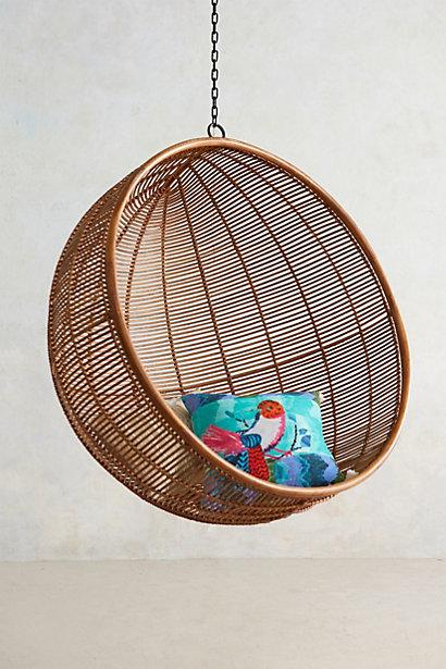 Brown Hanging Round Rattan Woven Chair