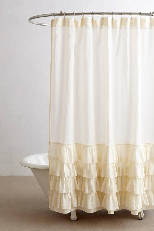 Aberdeen Cream Ruffled Shower Curtain