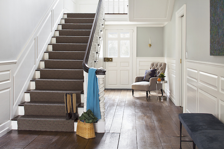 Gray Stair Runner Transitional Entrance Foyer