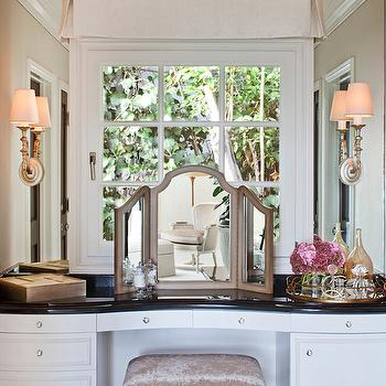 Folding Vanity Mirror, Transitional, closet, Smith Firestone Associates