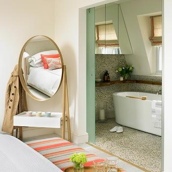 Amory Brown  Contemporary Coral Pink and Brass Accent Bedroom