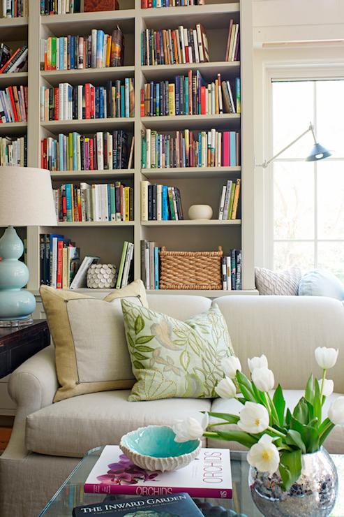Slipcovered Linen Sofa Transitional Den Library Office