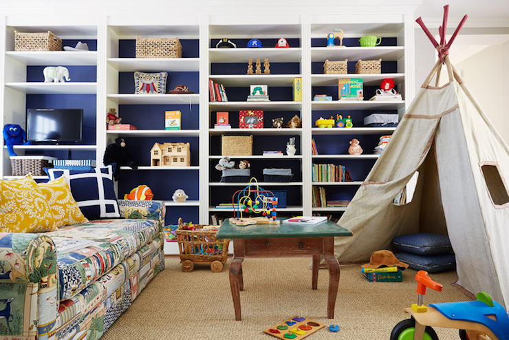 Kids Playroom With Tv kids tv room ideas - contemporary - den/library/office - oliver burns