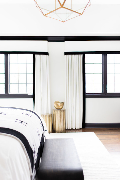 black and white curtains eclectic bedroom sherwin williams