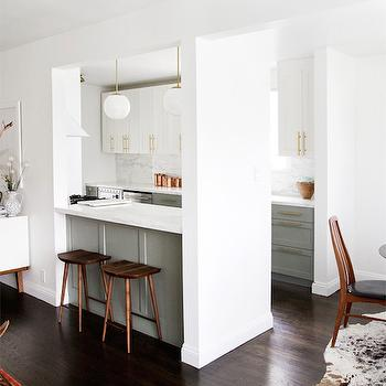 White Upper Cabinets Gray Lower Cabinets, Transitional, kitchen, Farrow and Ball Pigeon, Smitten Studio