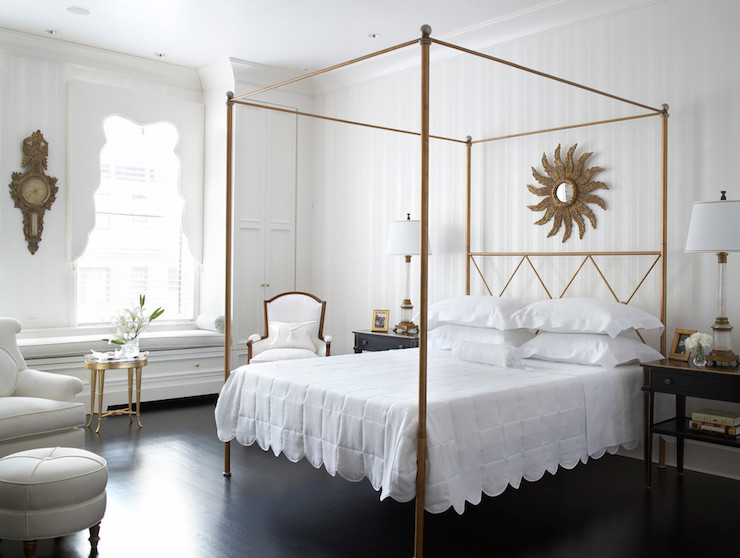 Gold Canopy Bed Transitional Bedroom Eva Quateman