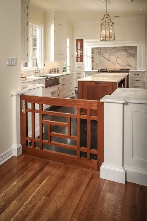 Indoor Dog Gate Transitional Kitchen