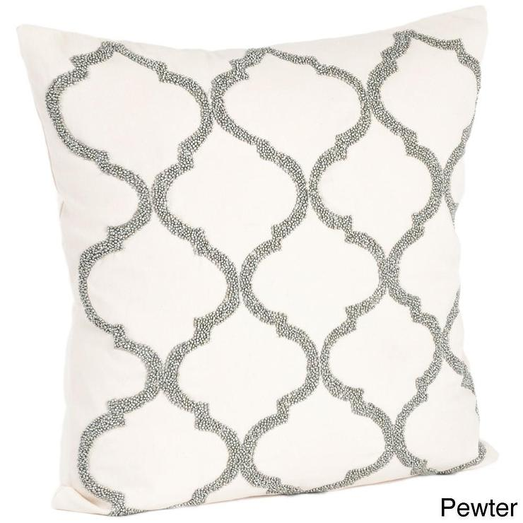 Moroccan Design Beaded Down Filled Grey And White Throw Pillow