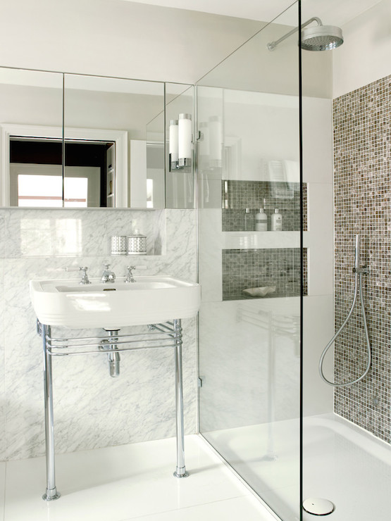 Accent Wall Shower Contemporary Bathroom Amory Brown