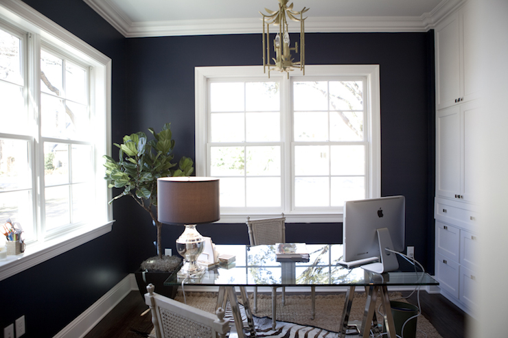 Navy Blue Office Transitional Den Library Office