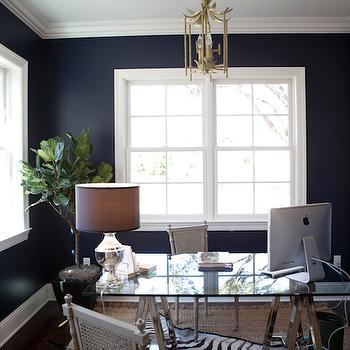 Navy Walls With Board And Batten Transitional Den