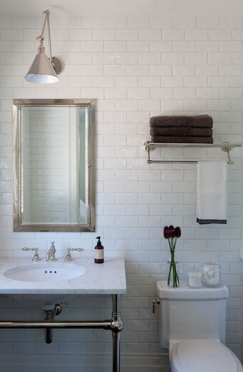 Bathroom Vanity Lights Over Medicine Cabinet bathroom with subway tiles - modern - bathroom - tania handelsmann