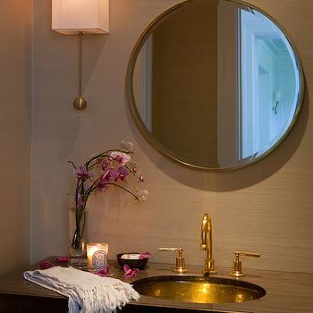 Grasscloth in Powder Rooms, Contemporary, bathroom, Marie Christine Design