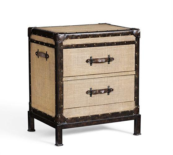 Redford Trunk Beige Bedside Table