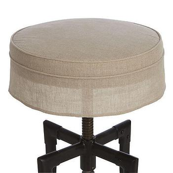Turner Stool Linen Cushion with Skirt, Crate and Barrel