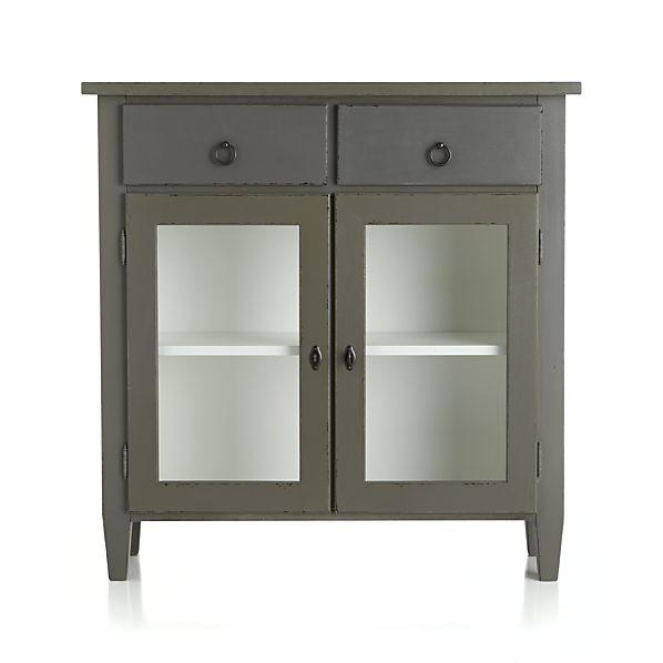 Stretto Grey Entryway Cabinet - Soft Modern Grey Striped Storage Cabinet